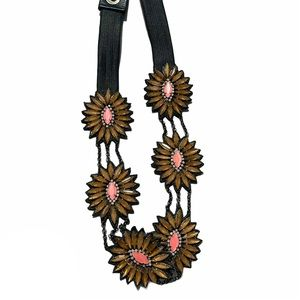 Fancy floral stretchy belt boho S